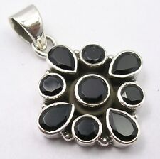 925 Solid Sterling Silver Black Onyx Genuine Gemstone Pendant