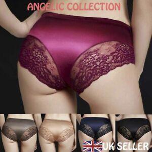 Shiny Satin Knickers Sexy Briefs Women Underwear Lace Panties Seamless No VPL