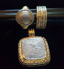 Pave Sterling Silver & Gold Vermeil Cubic Zirconia Pendant + Rings 3pc Lot