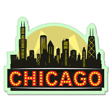 "Chicago City Skyline Black car bumper sticker decal 4"" x 4"""