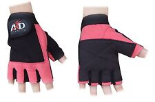 ARD WEIGHT LIFTING GYM GLOVES LEATHER PINK SLIM FITTING WOMENS ONLY