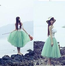 New Women Bohemian Pleated Tutu Princess Skirt Petticoat Knee-Length Mini Dress