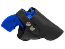 "NEW Barsony Black Leather OWB Gun Holster for Charter Arms 22 38 357 Snub 2"" Rev"