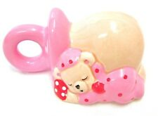 Ceramic Planter Pink Baby Girl Sleeping Teddy Bear Pacifier Shower Figurine