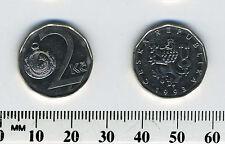 Czech Republic 1993 - 2 Czech Korun Nickel Plated Steel Coin