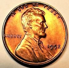 1952-P Lincoln Wheat 1c Uncirculated CHOICE RED/BROWN from UNC roll.99c Shipping