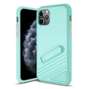 iPhone 11 Pro Max Case PC & TPU Protective Cover with Magnetic Kick Stand Blue