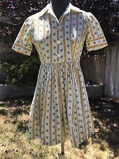 VTG 1950s COTTON DAY DRESS STRIPED NAUTICAL PRINT FULL SKIRT STARS & ROPES XS/S