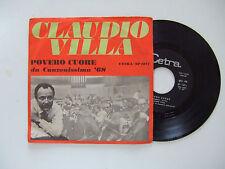 """Claudio Villa – Povero Cuore  - Disco Vinile 45 Giri 7"""" Stampa ITALIA 1968"""