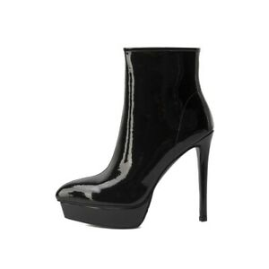 Party Women's Sexy Patent Leather Pointy Toe Platform Zip Up Ankle Boots 34-41 L
