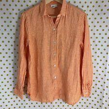 76d939a87f4 J . Jill Love Linen orange white striped long sleeve button front shirt  size XS