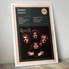 More details for queen poster, album cover print, rock band poster, freddie mercury art print
