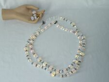 Rainbow Moonstone Lot Necklace and Earring Set Crystal Faceted Glass  USA Seller