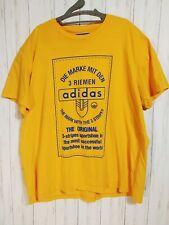 VTG Adidas T-Shirt Yellow Blue Trefoil Urban Big Logo German Tee Men's 3XL RARE