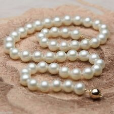 Beautifully matched Lustered 8mm AAA+ White South Sea Shell Pearl Necklace 18""
