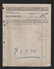 HAMBURG, Rechnung 1920, Paul Bartels