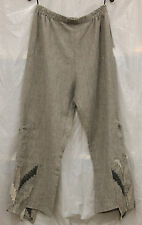 TRANSPARENTE EURO PLUS LINEN POCKET PULL UP ELASTIC WAIST PANTS GRY O/S 14 $300