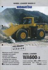 """Komatsu """"WA600-3"""" Wheel Tractor Loader Shovel Brochure Leaflet"""