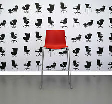 Refurbished Arper Catifa 46 Tall — Canteen Chair - Red Plastic Seat - Chrome ...