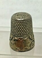 Vintage Thimble Silver Over Brass Metal Leaf Shapes & Diamonds SZ9 SHP