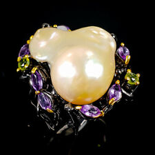 Vintage Natural Baroque Pearl 925 Sterling Silver Ring Size 8.25/R101156