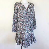 J. Crew Factory Womens Size Medium Relaxed Floral Printed Dress Ruffle Hem Boho
