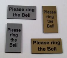 """1"""" x 2"""" and 2"""" x 1"""" Please Ring the Bell door sign in Gold and Silver finish"""