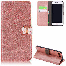 Glitter Magnetic Butterfly Flip PU Leather + Gel Case Cover For iPhone Samsung