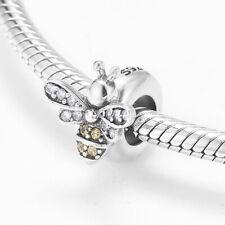 Real 100% 925 Sterling Silver  Delicate bee crystal CZ Charm PANDORA Bracelet
