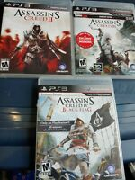 Assassin Creed PS3 Lot Of 3 Games. Complete Tested Creed 2 Creed 3 Creed 4 Flag