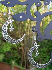 Filigree moon and star antique silver dangle drop charm handmade earrings