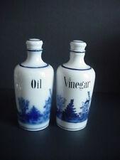 Vintage Oil & Vinegar Cruet Delf Style Windmill Blue White Made Germany