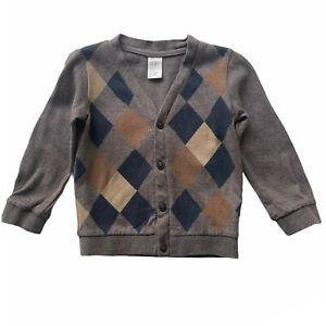 H&M Boys Toddler size 12-18M Light Brown & Argyle L S Button Cardigan Sweater