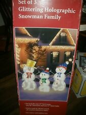 3-Piece GLITTERING Holographic Lighted Christmas SNOWMAN FAMILY Outdoor 35-28-27