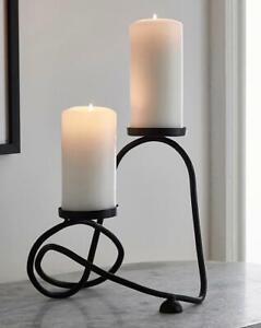 Abstract Matt Black Metal Candle Holder Home Decoration Art Gift Lighting Design
