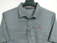 TRAVIS MATHEW Men's L Large Short Sleeve Golf Polo Shirt Gray with Stripes