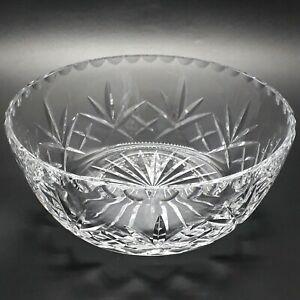 Vintage Clear Cut Crystal Fruit Bowl / Centrepiece Bowl Fan Pattern 19cm GC