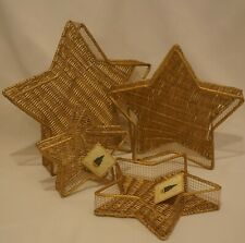 New ListingSet Of 4 Nesting Gold Star Shaped Wicker and Metal Baskets
