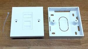 Kauden CAT6 RJ45 Module in Single Faceplate 1 port Network Socket + back box