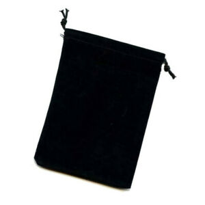 """Chessex Large Dice Bag BLACK Velour Cloth with Drawstring Pouch 5"""" x 7"""""""