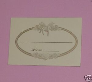 Rose Print Place Card, Wedding, Bridal Shower, Meeting, Anniversary, Ivory 150p