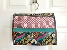 FOSSIL brown bird coated canvas jewelry makeup bag travel hook purse wallet tote