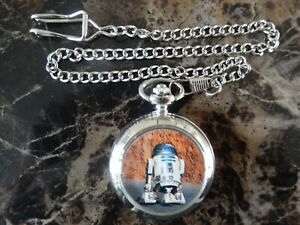 STAR WARS R2 D2 CHROME POCKET WATCH WITH CHAIN (NEW)