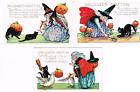 3 Antique Halloween Greeting Post WITCH Cat + Goose Pumpkin Owl Bat Mouse 1923