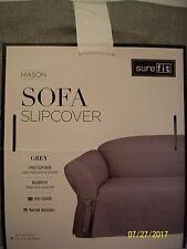 Surefit  SOFA  Slipcover ~ Mason Grey ~ One Piece  BOX CUSHION  #574 ~ NIP ~