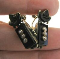 Victorian Gold Filled Onyx Seed Pearl Earrings Hinged Drop Heart Screw Back