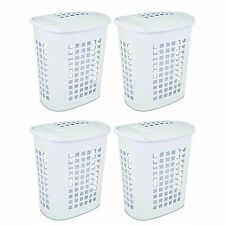 Sterilite 2.3 Bushell 81 Liter Lift Top XL Laundry Basket Hamper, White (4 Pack)