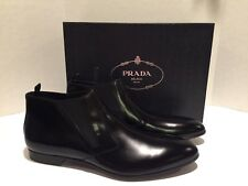 Prada Men's Ankle Boots Water Repellent Leather Black 10 $795 NWB