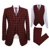 Men Burgundy Tweed Plaid Suit Vintage Tuxedo Prom Party Dinner Wedding Suit