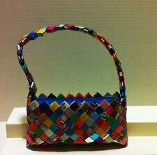 GUM, POP ART, & CANDY WRAPPER WOVEN MULTI-COLORED GLOSSY PURSE WITH STRAP